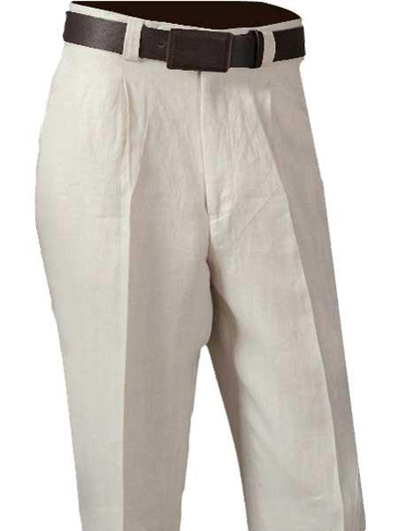 1940s Trousers, Mens Wide Leg Pants Mens Off White Single Pleated Pant 100 Linen $72.00 AT vintagedancer.com