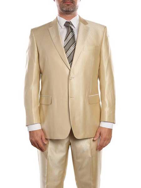 1960s Mens Suits | 70s Mens Disco Suits Mens Beige Double Vent Sharkskin Classic Fit Two Piece Single Suit $237.00 AT vintagedancer.com