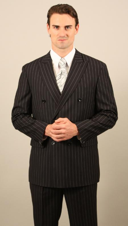 Mens Double Breasted Black Pinstripe Suit With Pants