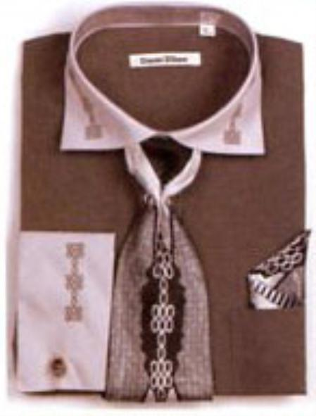 Men s two tone embroidery french cuff shirts with