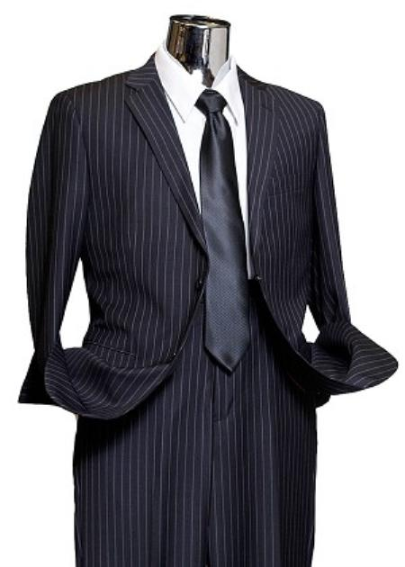 Navy Wide Pinstripe 2 Button Mens Suit Navy