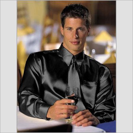 Shiny Dark Color Black Satin Dress Shirt With Tie Combo