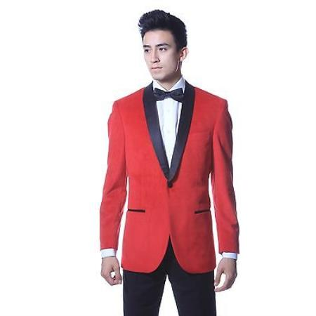 Red Blazer With Black Collar For Men