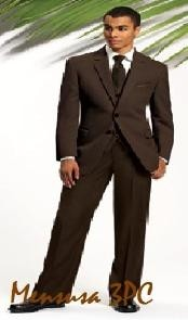 High Quality 2 Button Solid Brown Vested Suits On Sale- MensITALY