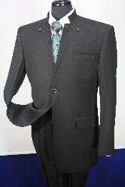 SKU#WL4922 Mens 100% Wool Suit- Button Down Mandarin Collar$249