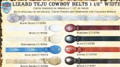 "SKU#R3GF Genuine Lizard Teju Western Cowboy Belt 1.5"" Width Diff. Colors/Sizes $79"