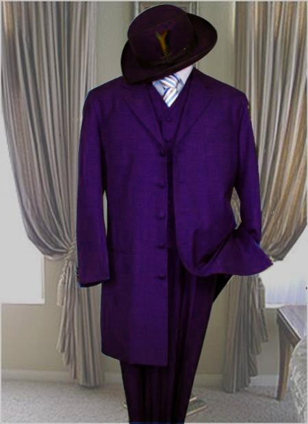 Classic Long length Dark Purple pastel color Fashion Zoot Suit