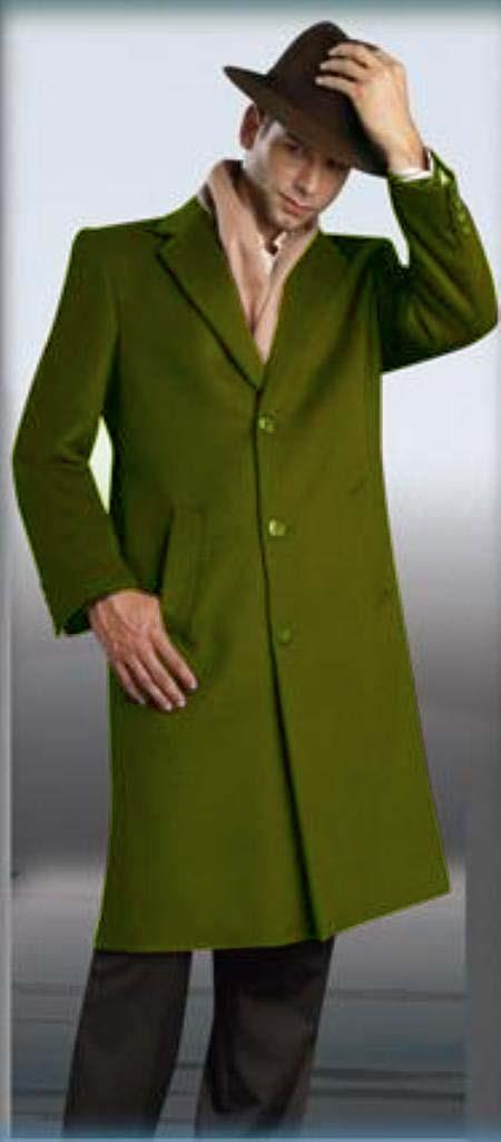 60s 70s Men's Jackets & Sweaters Olive Green overcoats for men 45 Single Breasted Three buttons Style Wool fabric  Cashmere 495 $250.00 AT vintagedancer.com