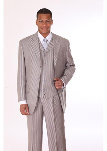 Mens 3 Piece 3 Button Suit