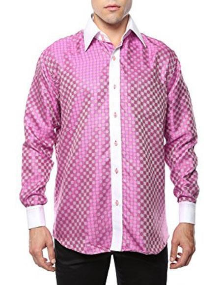 Men's Vintage Style Shirts Two Toned Pink-White Shiny Satin Floral Spread Collar Paisley Dress Shirt Flashy Stage $53.00 AT vintagedancer.com