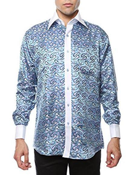 Men's Vintage Style Shirts Light Blue-White Shiny Satin Floral Spread Collar Paisley Dress Shirt Two Toned Casual $53.00 AT vintagedancer.com