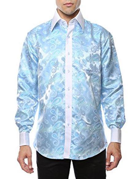 1960s – 1970s Mens Shirts- Dress, Mod, Disco, Turtleneck Shiny Satin Floral Spread Collar Paisley Dress Shirt Sky Blue $53.00 AT vintagedancer.com