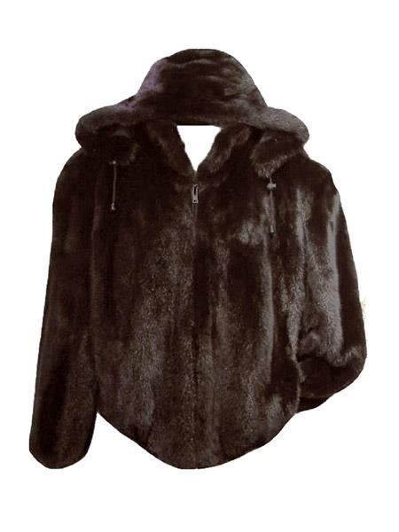 Brown Fully Lined Jacket Genuine Rabbit Fur With Removable Hood