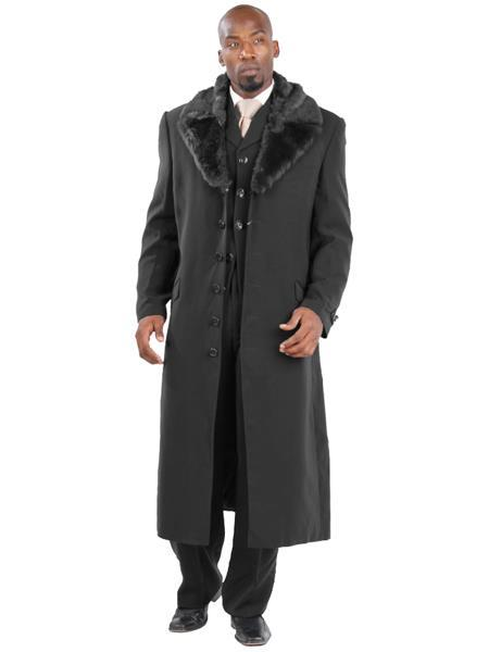 1920s Mens Coats & Jackets History 6 Buttons Full Length Black Removable Faux Fur Collar Overcoat $223.00 AT vintagedancer.com