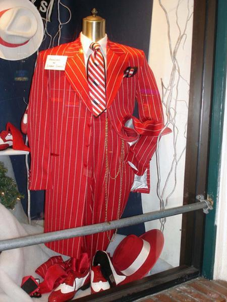 Single Breasted Red And White Stripe Vested Fashion Suit