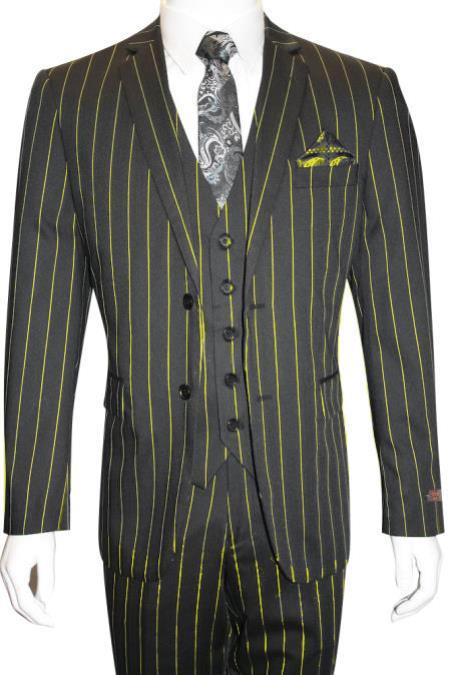 Men's Bold Gangster 1920s Vintage Gangster Bold Stripe 2 Button Vested Suit Black