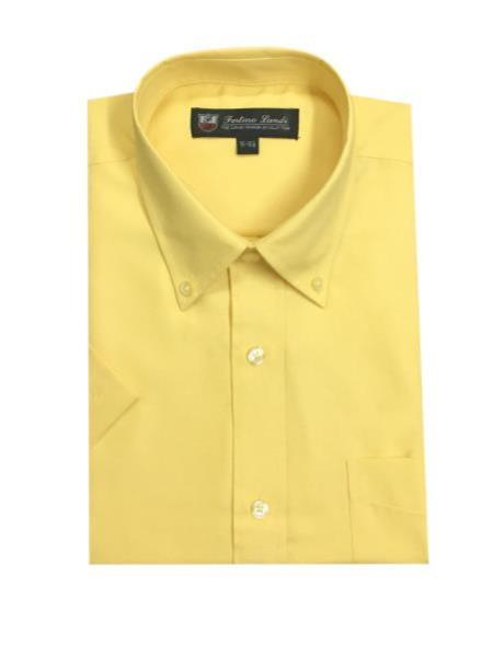 Cotton Blend Oxford Yellow Button Down Short Sleeve Shirts