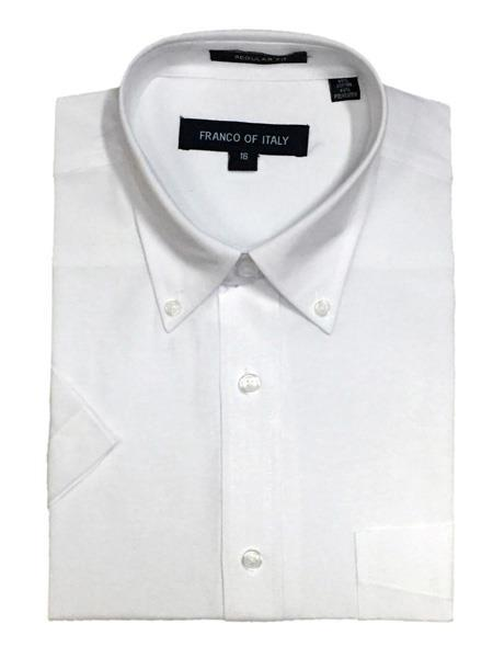 Short Sleeve Button Down Oxford White Shirts Cotton Blend