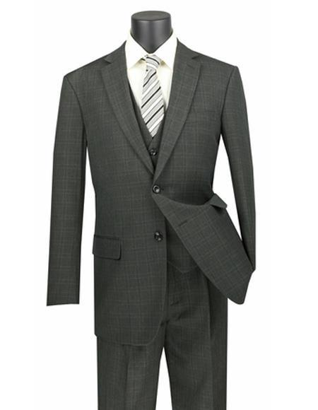Olive Three Piece Plaid ~ Window Pane Two Button Vested Regular Fit Suit