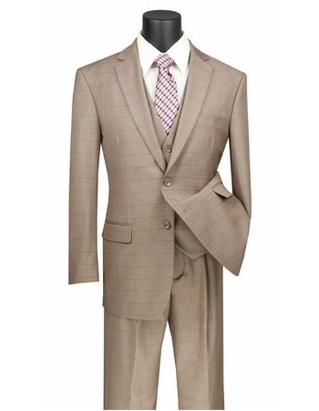 Three Piece Regular Fit Tan Plaid ~ Window Pane Two Button Vested Suit