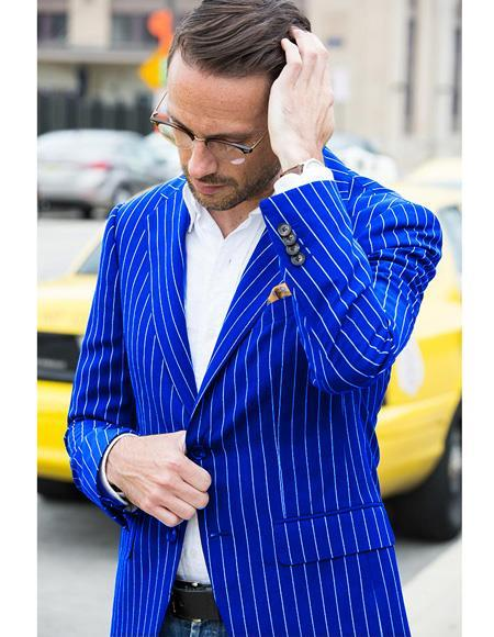 ID#SP25400 Royal ~ Blue Gangster 1920s men's Fashion Clothing 50s Outfit Costume Suit Jacket Sport Coat With Bold Chalk Pinstripe