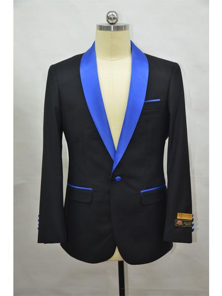 Flap Two Pockets Shawl Lapel Affordable Cheap Priced Unique Fancy For Men Available Big Sizes on sale  Four Button Cuff Black-RoyalBlue Blazer