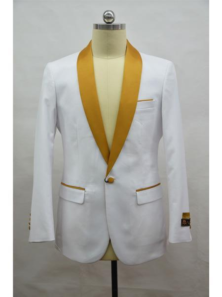 One Button Flap Two Pockets Shawl Lapel Affordable Cheap Priced Unique Fancy For Men Available Big Sizes on sale Men's White-Gold  Blazer ~ Suit Jacket
