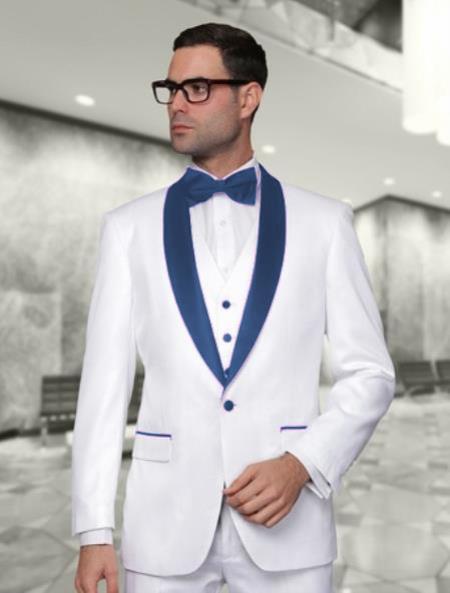 Navy Blue Vested Shawl Lapel Tuxedo