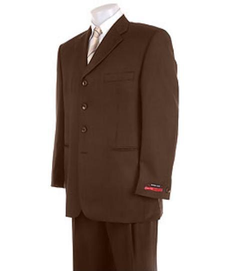 men's Solid Brown 4 Buttons Super Pleated Pants Premier Quality Online Sale Clearance Suit