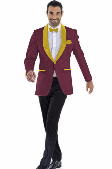 men's Blazer Burgundy ~ Gold Besom Pockets Shawl Lapel