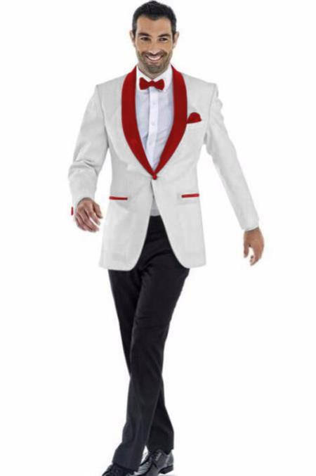 men's Off White ~ Maroon Shawl Lapel Blazer