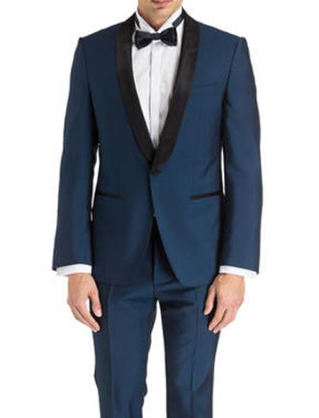 men's Keith Black Shawl Lapel Navy Blue Tuxedo