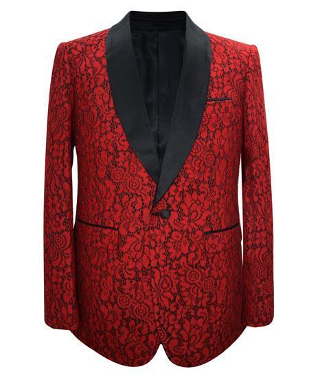 Prom Custom Celebrity Modern Red Cheap men's Printed Unique Patterned Print Floral Tuxedo Flower Jacket Perfect for Prom