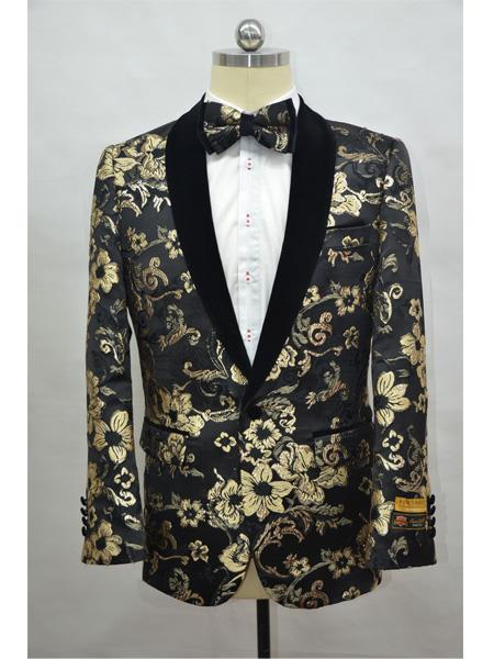 Tux Black - Black and Gold Cheap men's Printed Unique Patterned Print Floral Tuxedo Affordable Cheap Priced Unique Fancy For Men Available Big Sizes on sale Flower Jacket Prom Custom Celebrity Modern