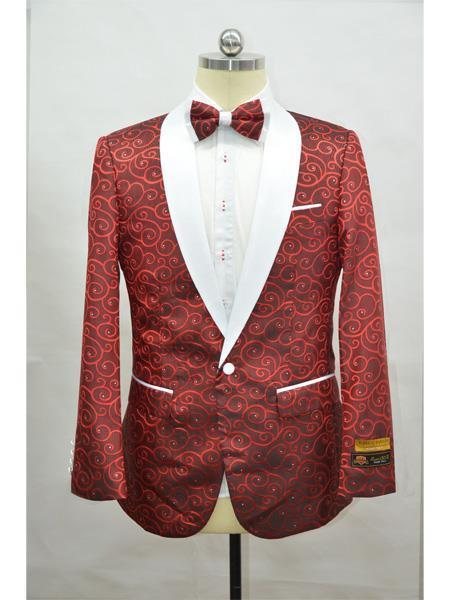 Perfect for Prom Print Floral Tuxedo Red ~ White Flower Free Matching bowtie Affordable Cheap Priced Unique Fancy For Men Available Big Sizes on sale Jacket Prom Printed Unique Patterned Cheap men's Custom Celebrity Modern Tux