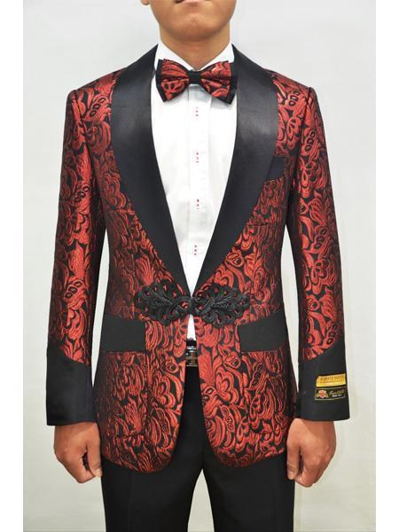 Perfect for Prom Cheap men's Printed Unique Patterned Print Custom Celebrity Modern Tux Red ~ Black Floral Tuxedo Flower Jacket Prom