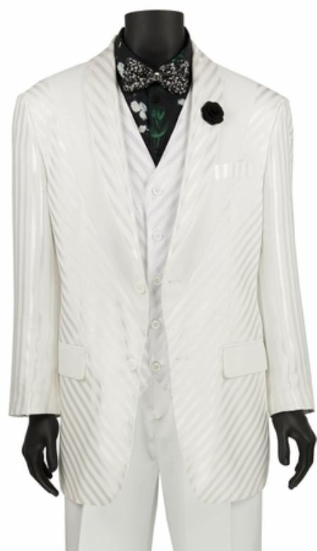 Mens White Shiny Stripe 3 Piece Fashion Suit