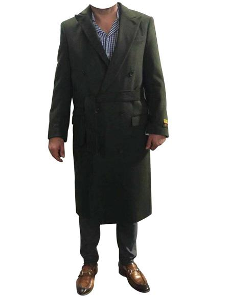 men's Alberto Nardoni Belted Wool Ankle length Coat Overcoats ~ Long men's Dress Topcoat - Winter coat Double Breasted Suit Full Length