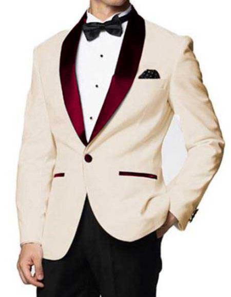 men's Ivory  Affordable Cheap Priced Unique Fancy For Men Available Big Sizes on sale One Button Burgundy Shawl Lapel Blazer