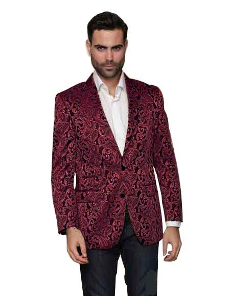 ID#SP26118 Alberto Nardoni Men's Paisley Floral Tuxedo Affordable Cheap Priced Unique Fancy For Men Available Big Sizes on sale Burgundy Shiny Matching Fashion Bow Tie Sport ~ Burgundy Tuxedo