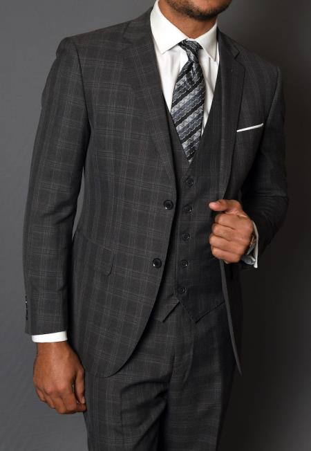 ID#SP26190 Three Piece 100% Wool Suit - Windowpane Plaid Texture No Pleated Pants Dark Charcoal Mens Statement Suit Vested Slim Fit Suit