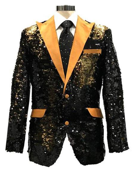 ID#SP26253 men's With Gold Satin Reversible Sequin Black & Gold Blazer