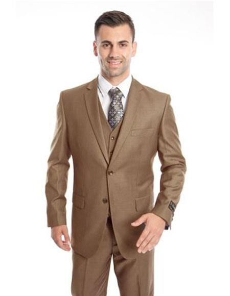 men's Two Button Regular Fit Dark Taupe  Suit