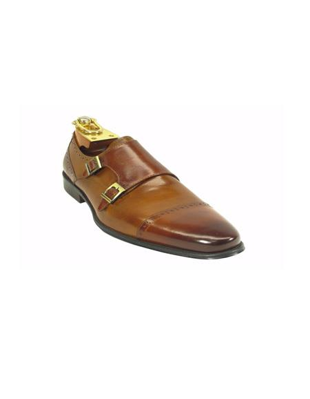 Fashion By men's Carrucci Shoe - Double Buckle Brown / Light Brown ~ Cognac