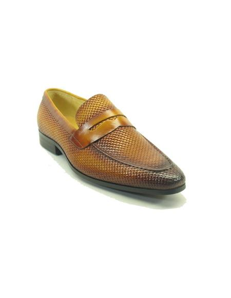 Woven Leather Stylish Dress Loafer men's Carrucci Shoe- Light Brown ~ Cognac