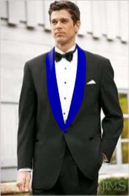 men's Blue Shawl Lapel  Black Suit