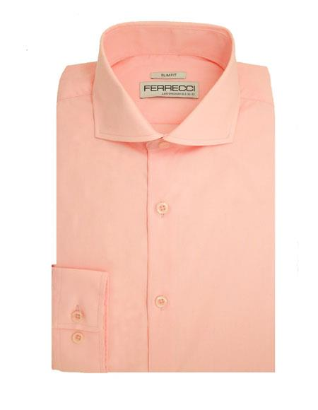 Slim Fit Dress Spread Collar Cotton Pink Shirt