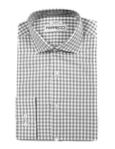Cotton Grey Slim Fit Spread Dress Gingham Shirt - Checker Pattern - French Cuff - White Collared + Free Bowtie