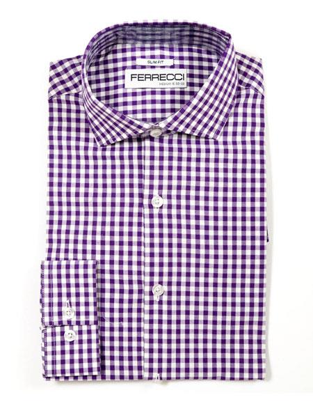 Slim Spread Collar Fit Dress Gingham Shirt - Checker Pattern - French Cuff - White Collared + Free Bowtie Purple Cotton