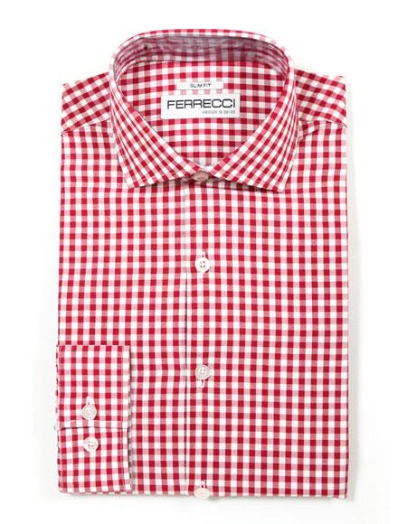 Red Spread Collar Slim Gingham Shirt - Checker Pattern - French Cuff - White Collared + Free Bowtie Cotton Fit Dress